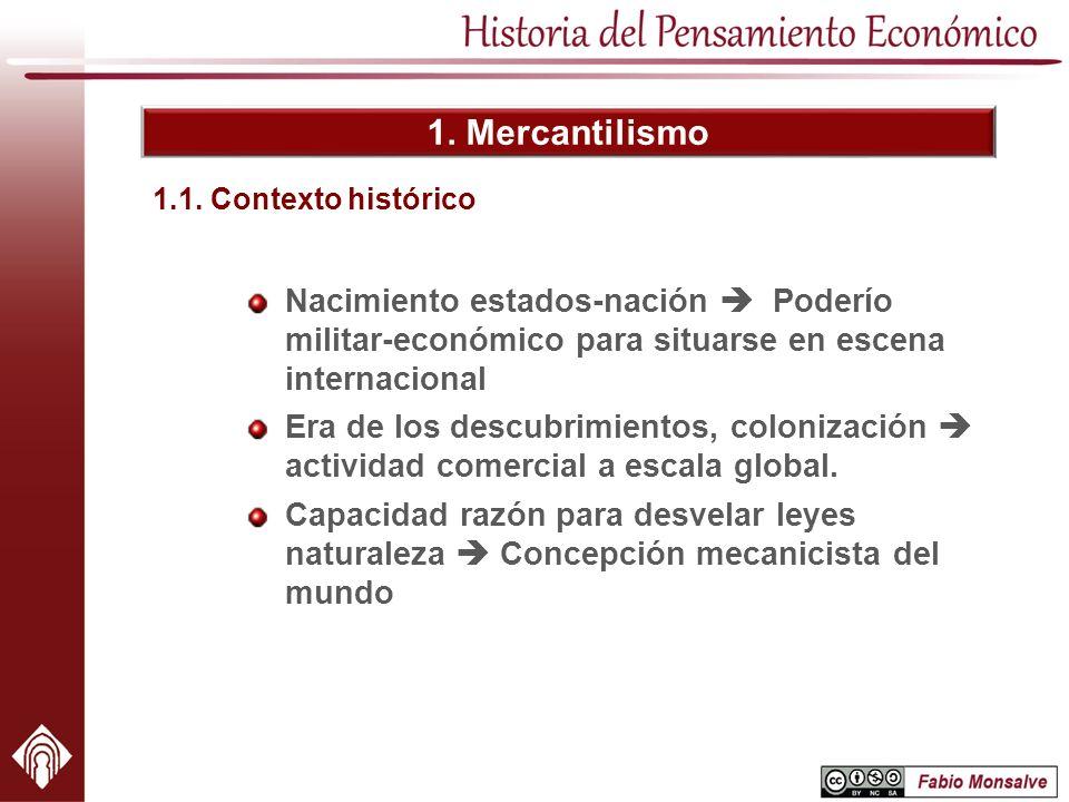1. Mercantilismo Nacimiento estados-nación Poderío militar-económico para situarse en escena internacional Era de los descubrimientos, colonización ac