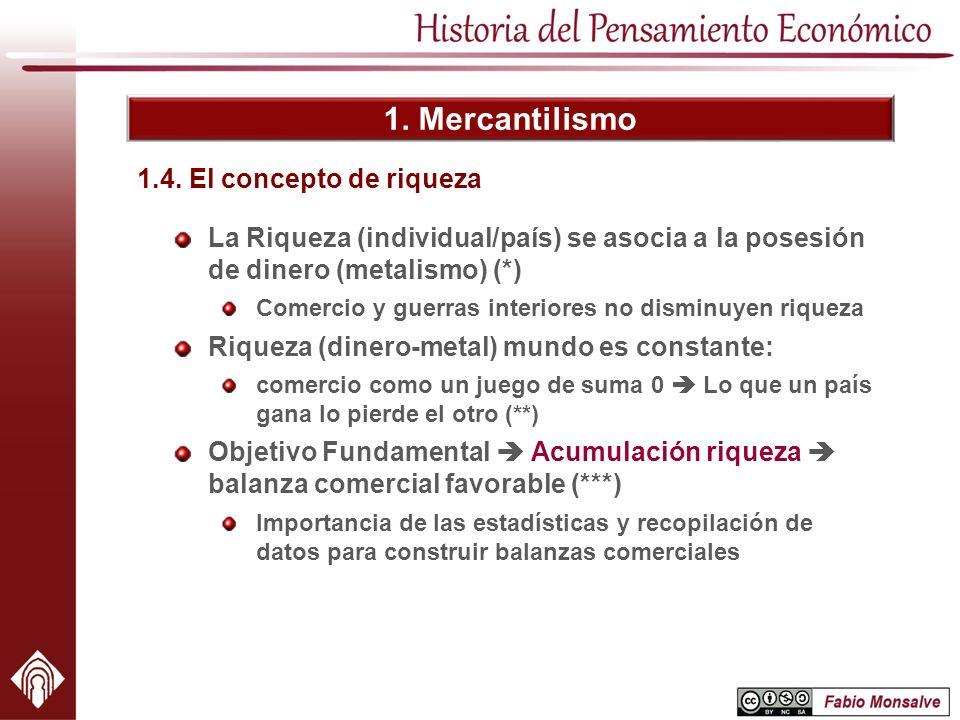1. Mercantilismo La Riqueza (individual/país) se asocia a la posesión de dinero (metalismo) (*) Comercio y guerras interiores no disminuyen riqueza Ri