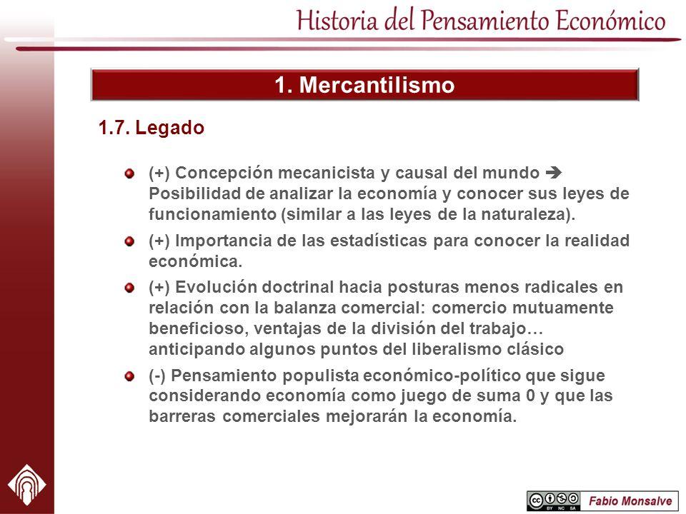 1. Mercantilismo (+) Concepción mecanicista y causal del mundo Posibilidad de analizar la economía y conocer sus leyes de funcionamiento (similar a la