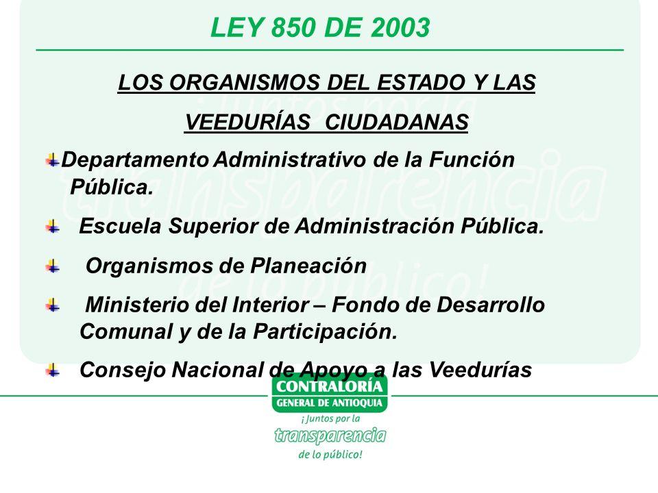 LEY 850 DE 2003 LOS ORGANISMOS DEL ESTADO Y LAS VEEDURÍAS CIUDADANAS Departamento Administrativo de la Función Pública. Escuela Superior de Administra