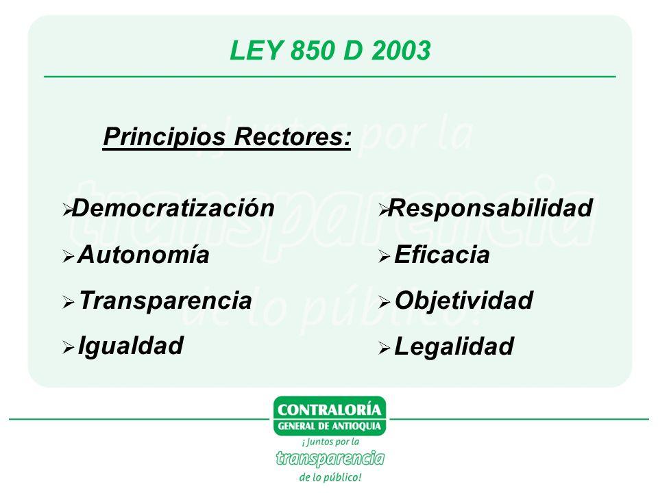 LEY 850 D 2003 Principios Rectores: Democratización Autonomía Transparencia Igualdad Responsabilidad Eficacia Objetividad Legalidad