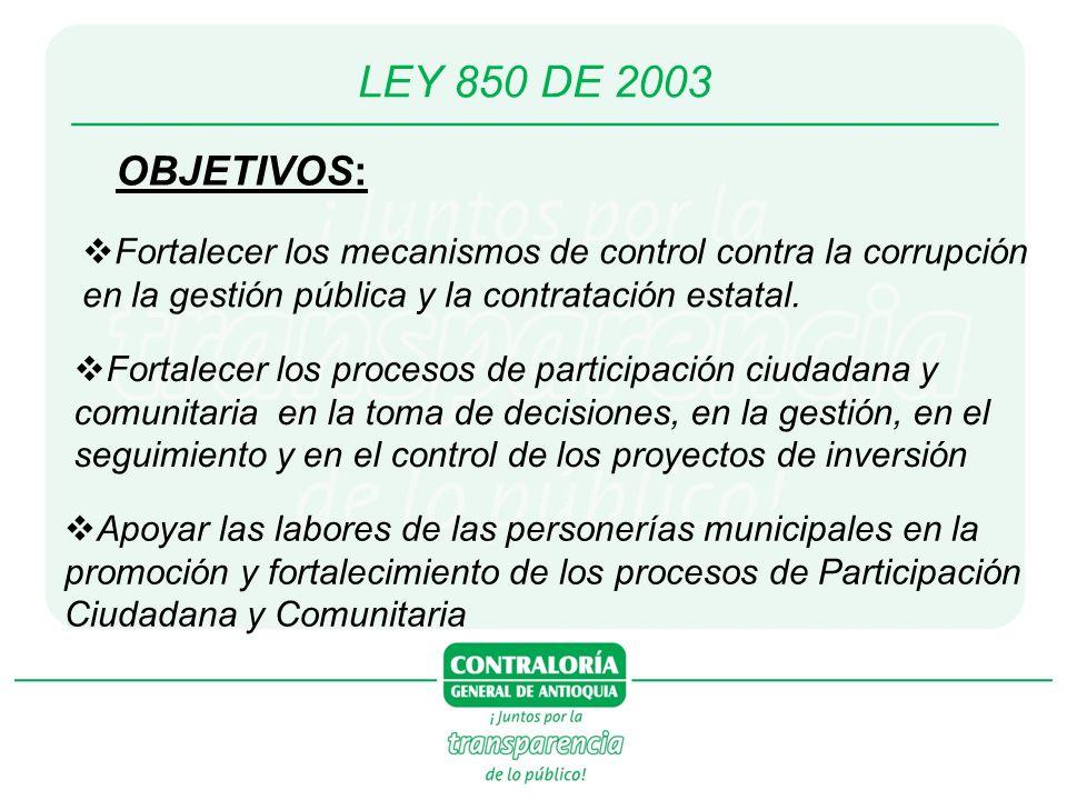 LEY 850 DE 2003 OBJETIVOS: Fortalecer los mecanismos de control contra la corrupción en la gestión pública y la contratación estatal. Fortalecer los p