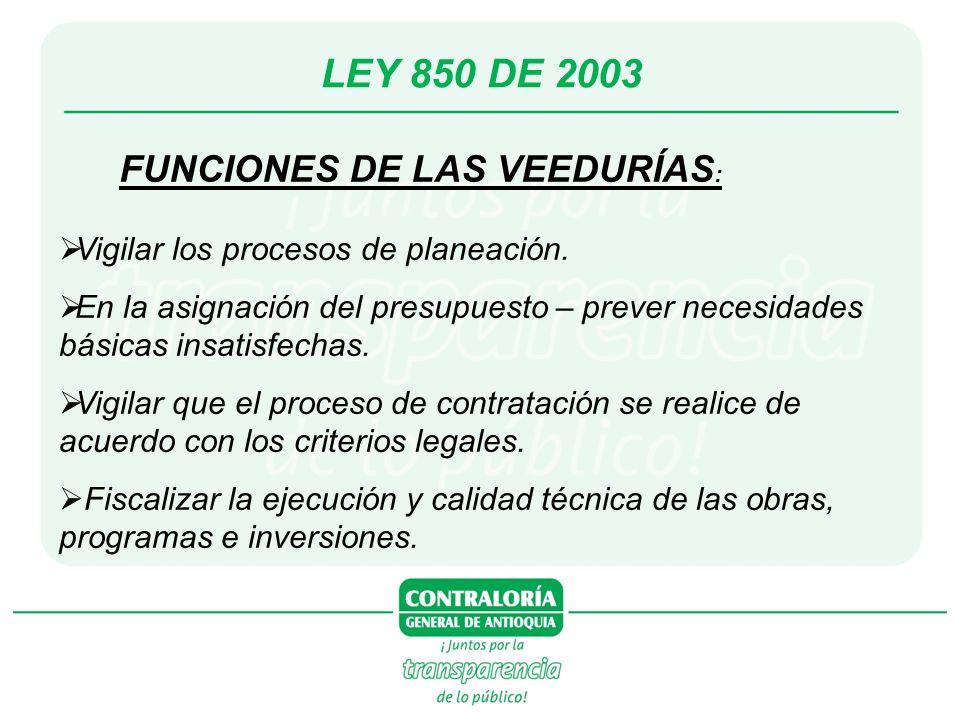LEY 850 DE 2003 FUNCIONES DE LAS VEEDURÍAS : Vigilar los procesos de planeación. En la asignación del presupuesto – prever necesidades básicas insatis