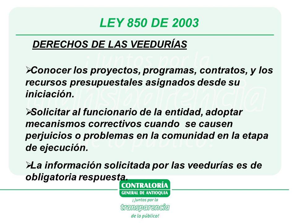 LEY 850 DE 2003 DERECHOS DE LAS VEEDURÍAS Conocer los proyectos, programas, contratos, y los recursos presupuestales asignados desde su iniciación. So
