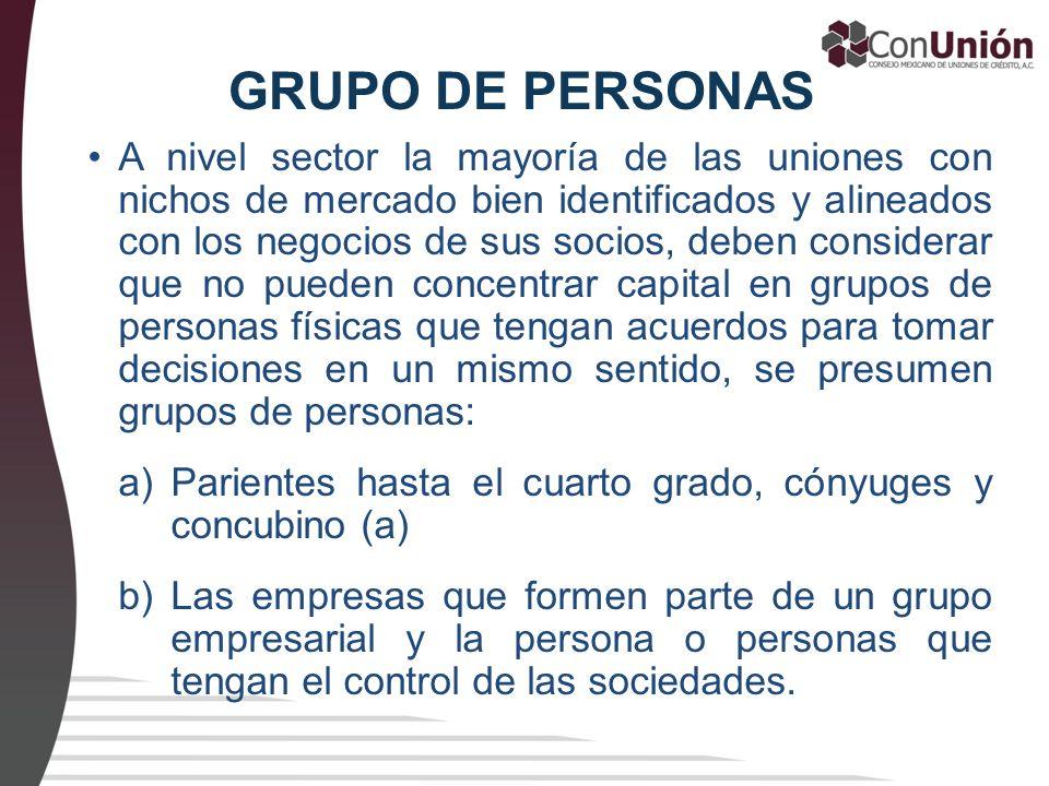 GRUPO DE PERSONAS A nivel sector la mayoría de las uniones con nichos de mercado bien identificados y alineados con los negocios de sus socios, deben