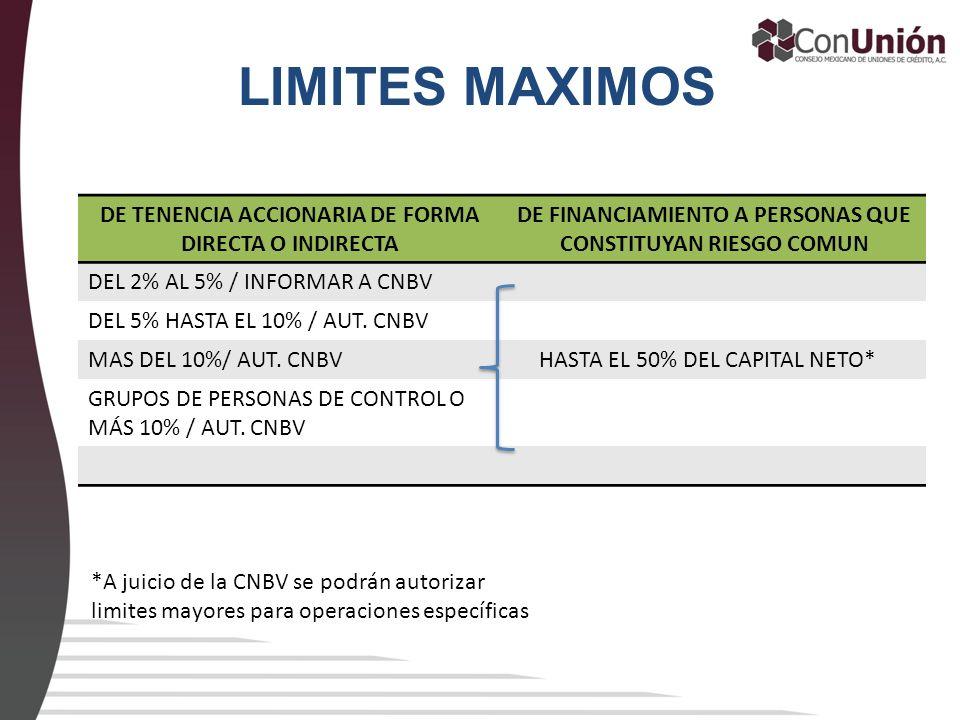 LIMITES MAXIMOS DE TENENCIA ACCIONARIA DE FORMA DIRECTA O INDIRECTA DE FINANCIAMIENTO A PERSONAS QUE CONSTITUYAN RIESGO COMUN DEL 2% AL 5% / INFORMAR