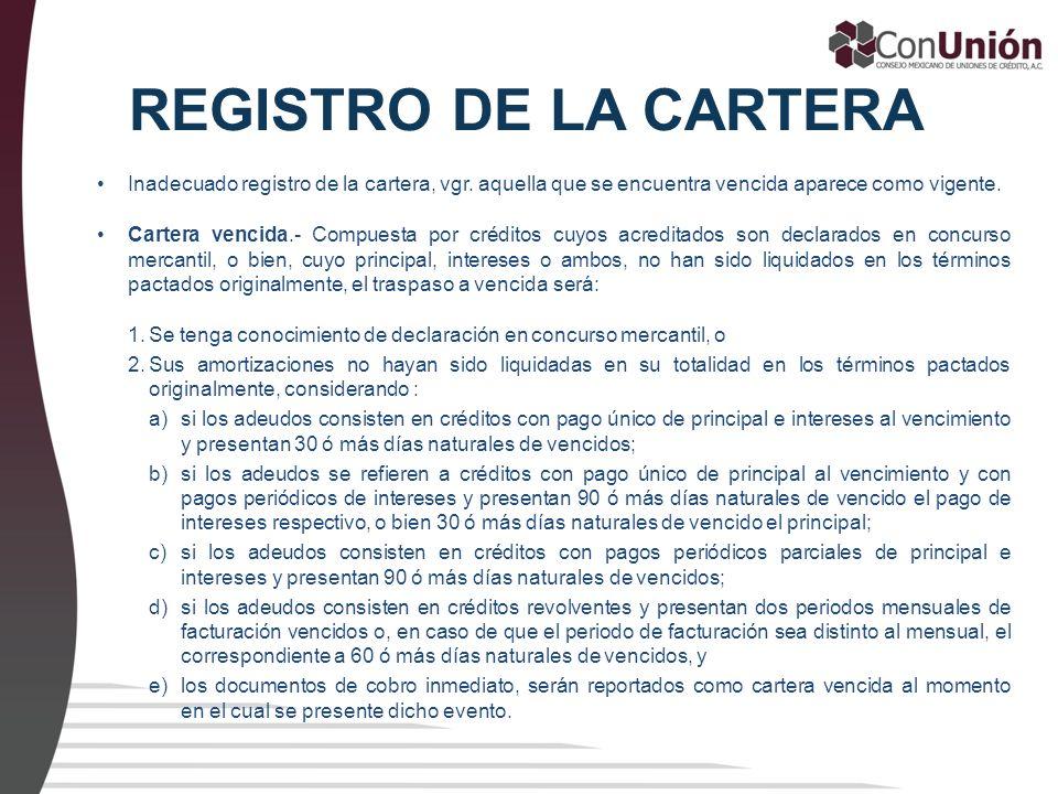 REGISTRO DE LA CARTERA Inadecuado registro de la cartera, vgr. aquella que se encuentra vencida aparece como vigente. Cartera vencida.- Compuesta por