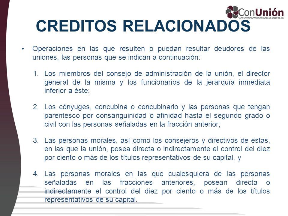 CREDITOS RELACIONADOS Operaciones en las que resulten o puedan resultar deudores de las uniones, las personas que se indican a continuación: 1.Los mie