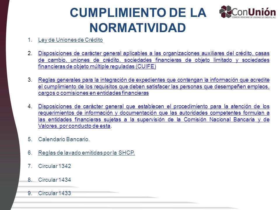 CUMPLIMIENTO DE LA NORMATIVIDAD 1.Ley de Uniones de Crédito 2.Disposiciones de carácter general aplicables a las organizaciones auxiliares del crédito