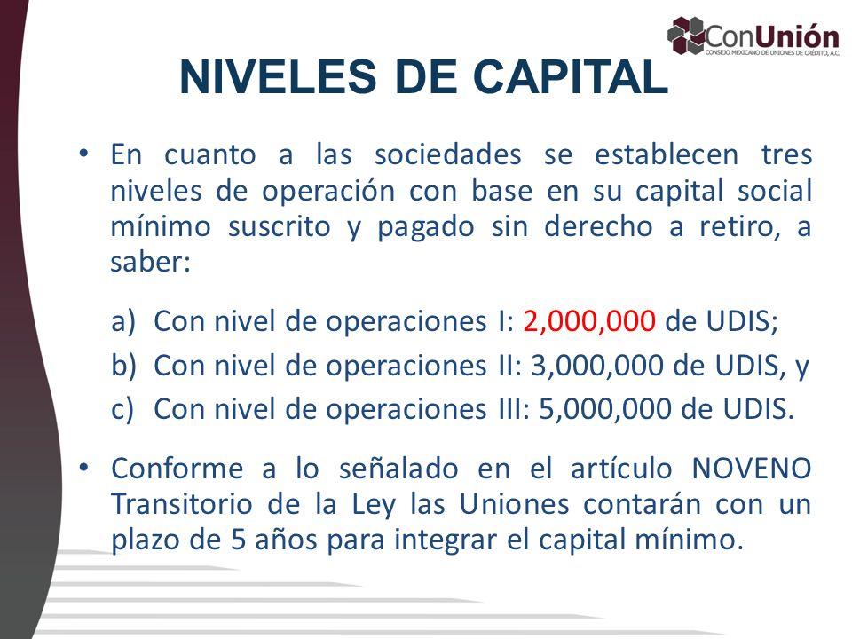 NIVELES DE CAPITAL En cuanto a las sociedades se establecen tres niveles de operación con base en su capital social mínimo suscrito y pagado sin derec