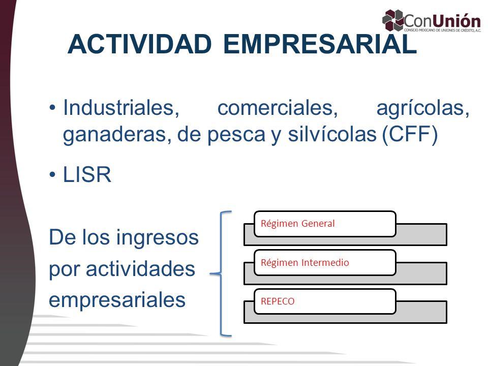 ACTIVIDAD EMPRESARIAL Industriales, comerciales, agrícolas, ganaderas, de pesca y silvícolas (CFF) LISR De los ingresos por actividades empresariales