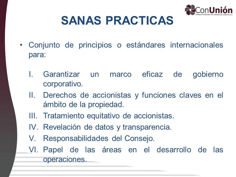 SANAS PRACTICAS Conjunto de principios o estándares internacionales para: I.Garantizar un marco eficaz de gobierno corporativo. II.Derechos de accioni