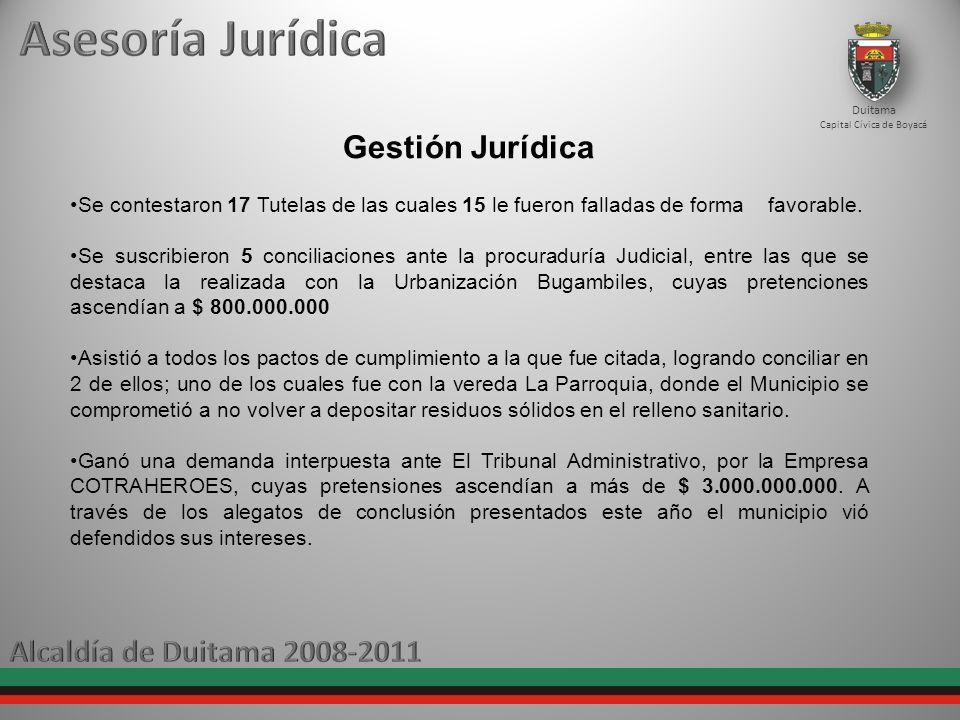 Duitama Capital Cívica de Boyacá Gestión Jurídica Se contestaron 17 Tutelas de las cuales 15 le fueron falladas de forma favorable. Se suscribieron 5