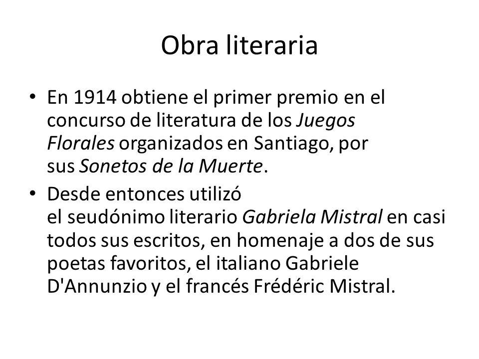 Títulos de obras literarias Sonetos de la Muerte (1914) Desolación (1922) Lecturas para mujeres (1923) Ternura (1924) Nubes blancas y breve descripción de Chile (1934)