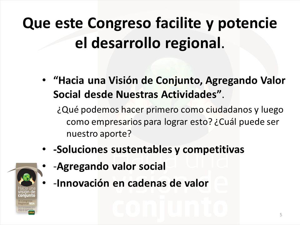 Que este Congreso facilite y potencie el desarrollo regional. Hacia una Visión de Conjunto, Agregando Valor Social desde Nuestras Actividades. ¿Qué po