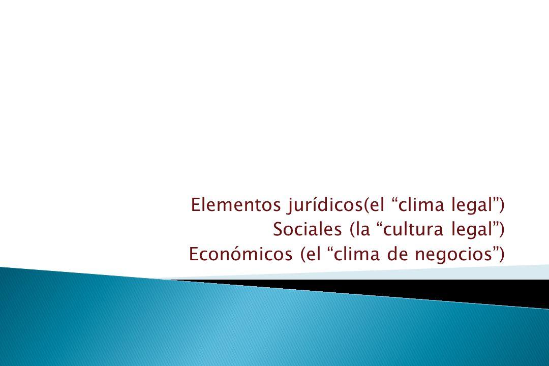 Elementos jurídicos(el clima legal) Sociales (la cultura legal) Económicos (el clima de negocios)