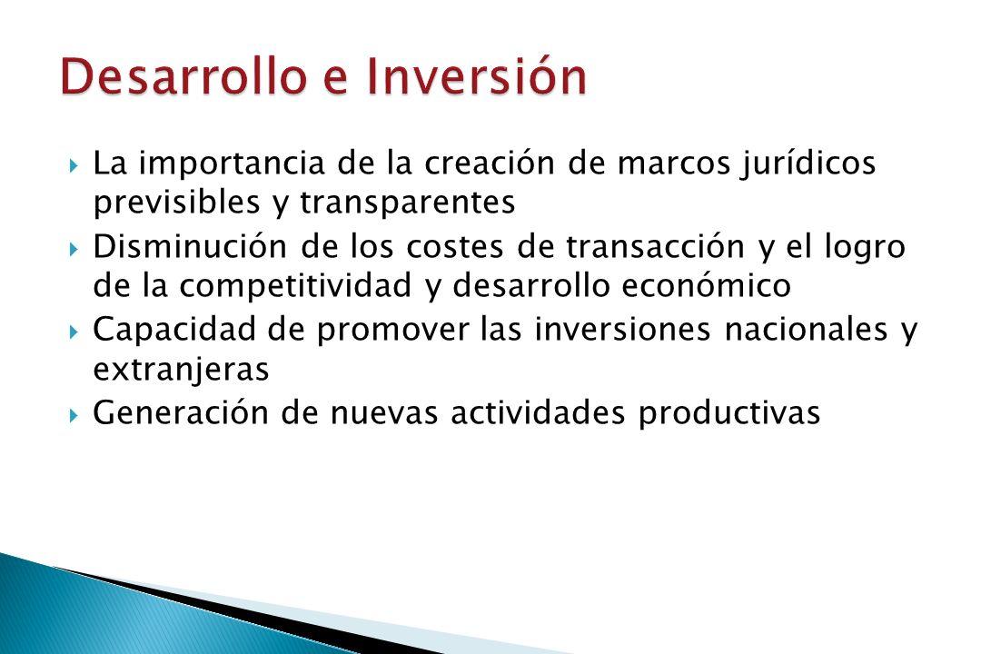 La importancia de la creación de marcos jurídicos previsibles y transparentes Disminución de los costes de transacción y el logro de la competitividad y desarrollo económico Capacidad de promover las inversiones nacionales y extranjeras Generación de nuevas actividades productivas