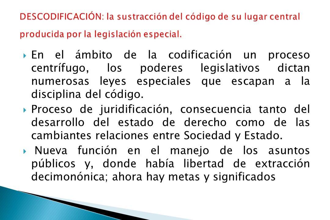 En el ámbito de la codificación un proceso centrífugo, los poderes legislativos dictan numerosas leyes especiales que escapan a la disciplina del código.