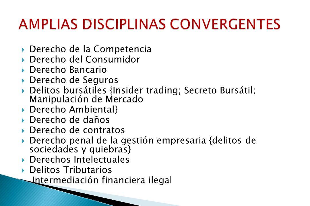 Derecho de la Competencia Derecho del Consumidor Derecho Bancario Derecho de Seguros Delitos bursátiles {Insider trading; Secreto Bursátil; Manipulaci