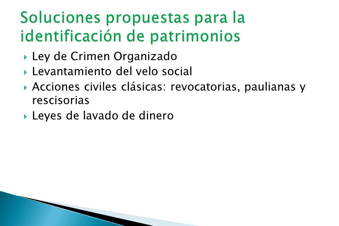 Ley de Crimen Organizado Levantamiento del velo social Acciones civiles clásicas: revocatorias, paulianas y rescisorias Leyes de lavado de dinero