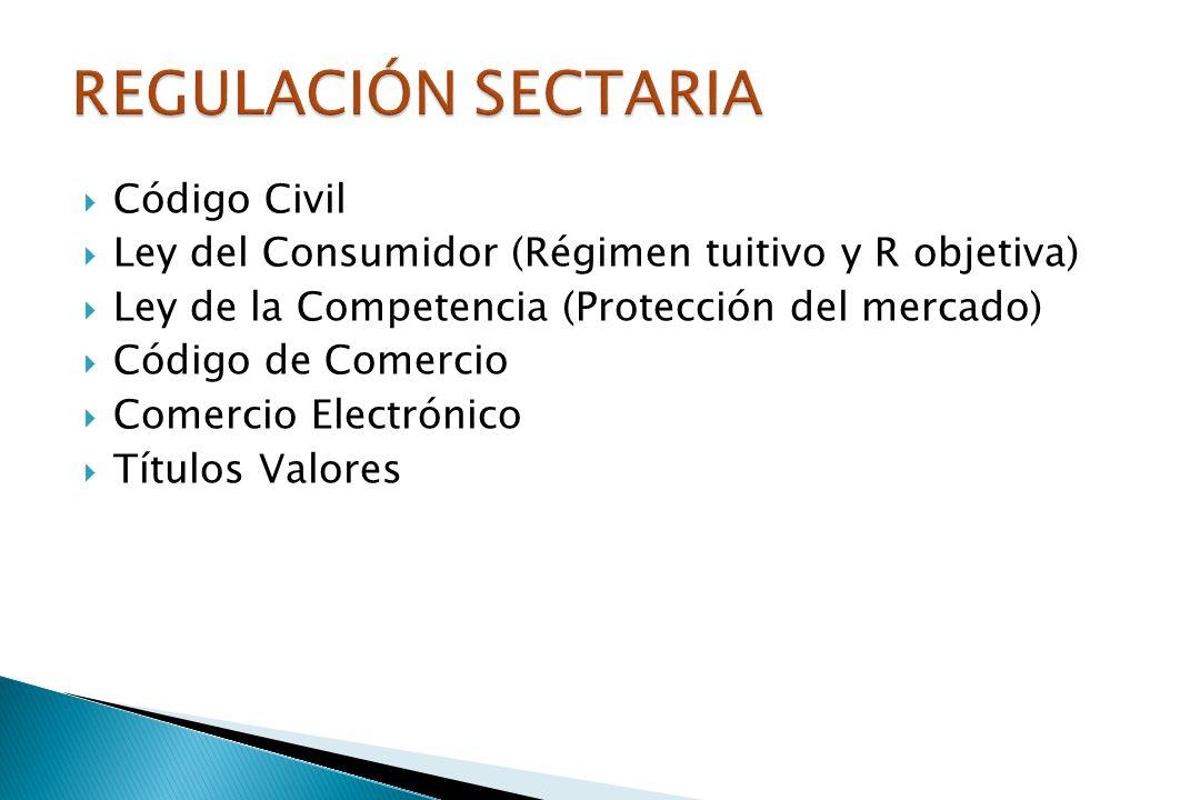 Código Civil Ley del Consumidor (Régimen tuitivo y R objetiva) Ley de la Competencia (Protección del mercado) Código de Comercio Comercio Electrónico Títulos Valores