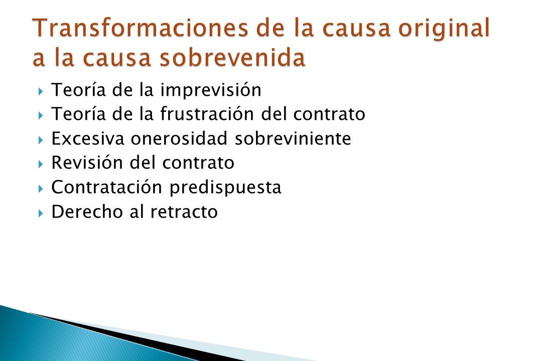 Teoría de la imprevisión Teoría de la frustración del contrato Excesiva onerosidad sobreviniente Revisión del contrato Contratación predispuesta Derecho al retracto