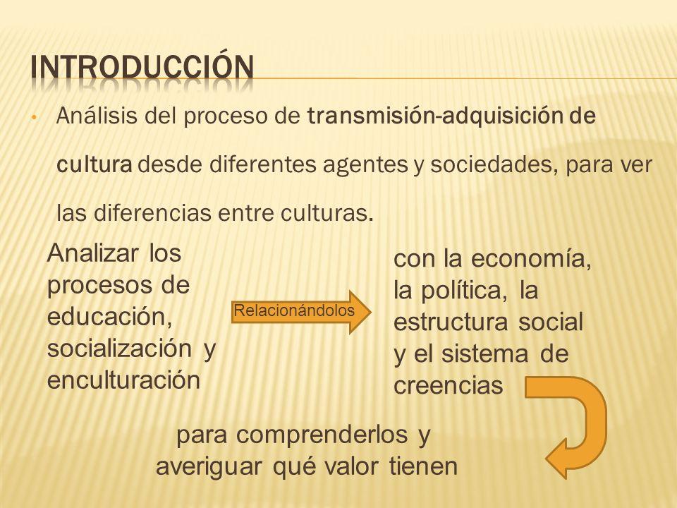 Análisis del proceso de transmisión-adquisición de cultura desde diferentes agentes y sociedades, para ver las diferencias entre culturas. Analizar lo