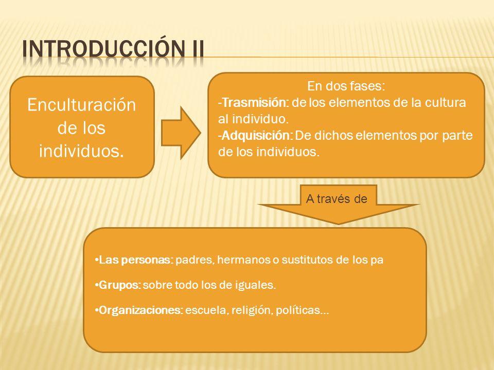 Enculturación de los individuos. En dos fases: -Trasmisión: de los elementos de la cultura al individuo. -Adquisición: De dichos elementos por parte d