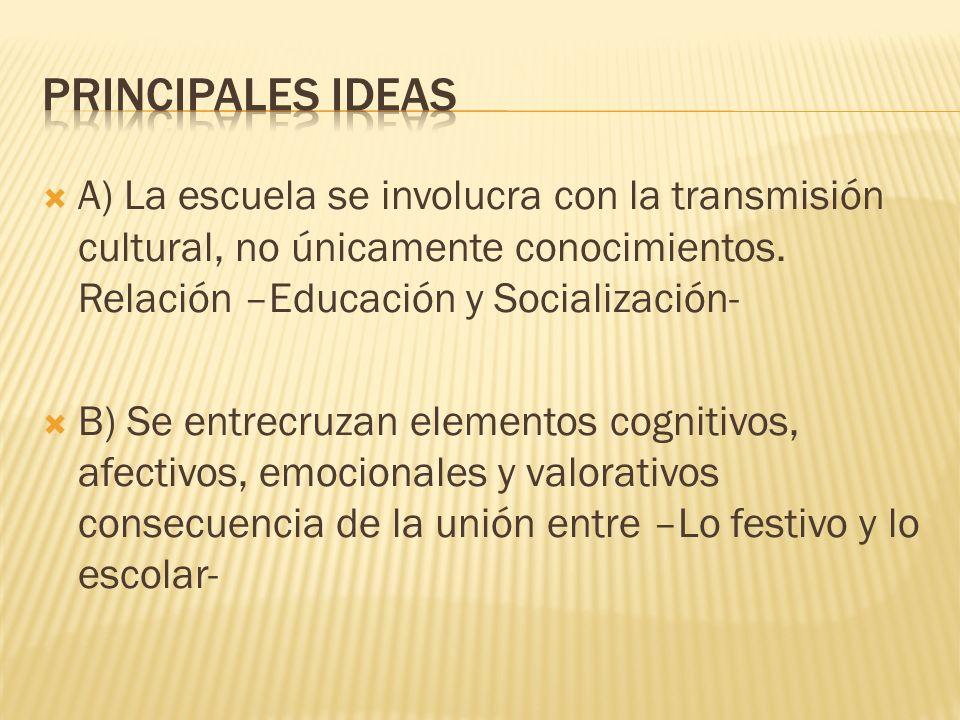 A) La escuela se involucra con la transmisión cultural, no únicamente conocimientos. Relación –Educación y Socialización- B) Se entrecruzan elementos