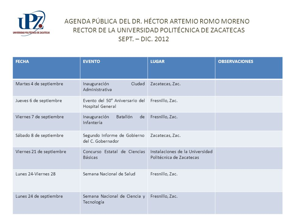 FECHAEVENTOLUGAROBSERVACIONES Martes 4 de septiembreInauguración Ciudad Administrativa Zacatecas, Zac. Jueves 6 de septiembreEvento del 50° Aniversari