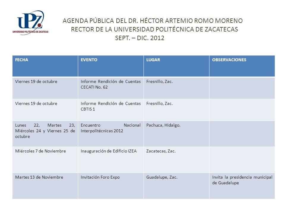 FECHAEVENTOLUGAROBSERVACIONES Viernes 19 de octubreInforme Rendición de Cuentas CECATI No.