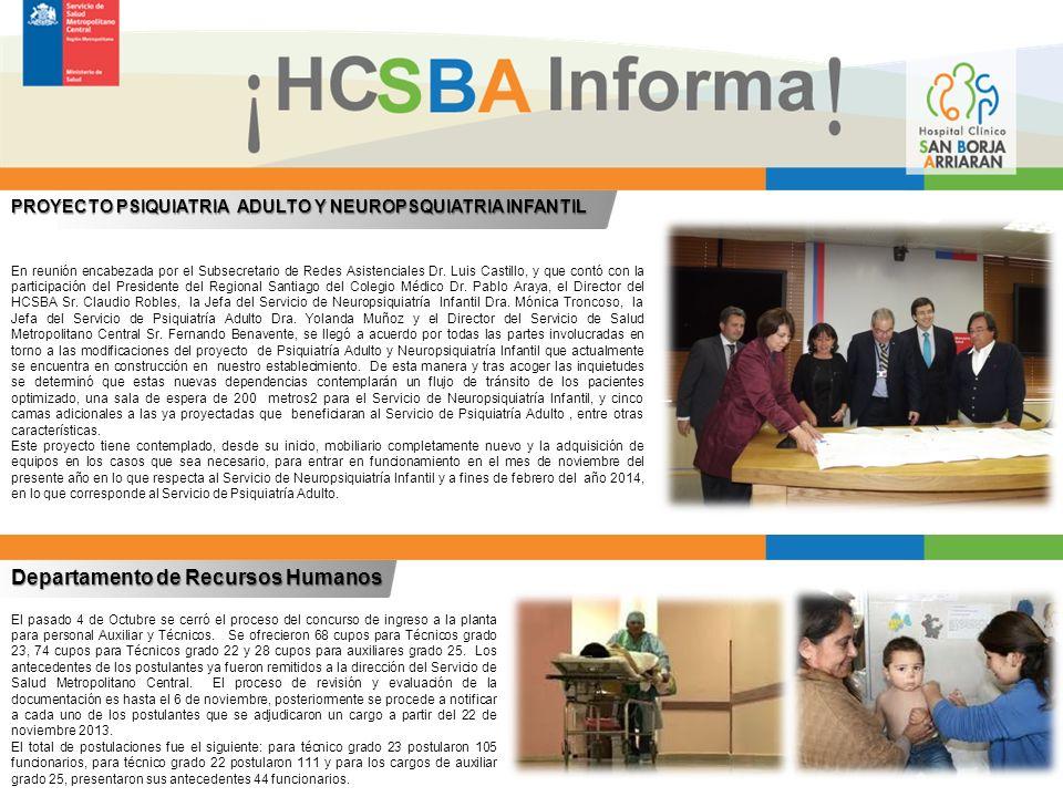 Departamento de Recursos Humanos El pasado 4 de Octubre se cerró el proceso del concurso de ingreso a la planta para personal Auxiliar y Técnicos.