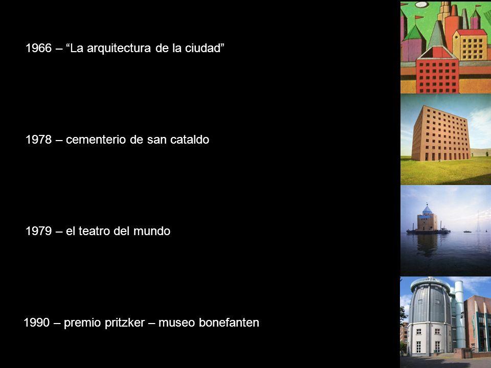 1966 – La arquitectura de la ciudad 1979 – el teatro del mundo 1978 – cementerio de san cataldo 1990 – premio pritzker – museo bonefanten