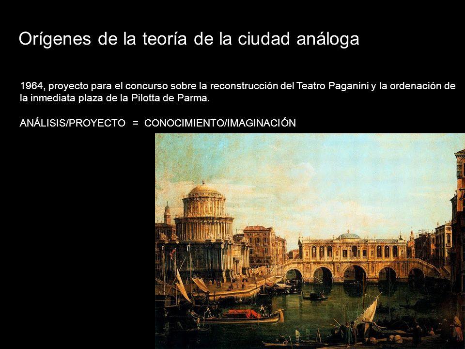 Orígenes de la teoría de la ciudad análoga 1964, proyecto para el concurso sobre la reconstrucción del Teatro Paganini y la ordenación de la inmediata plaza de la Pilotta de Parma.