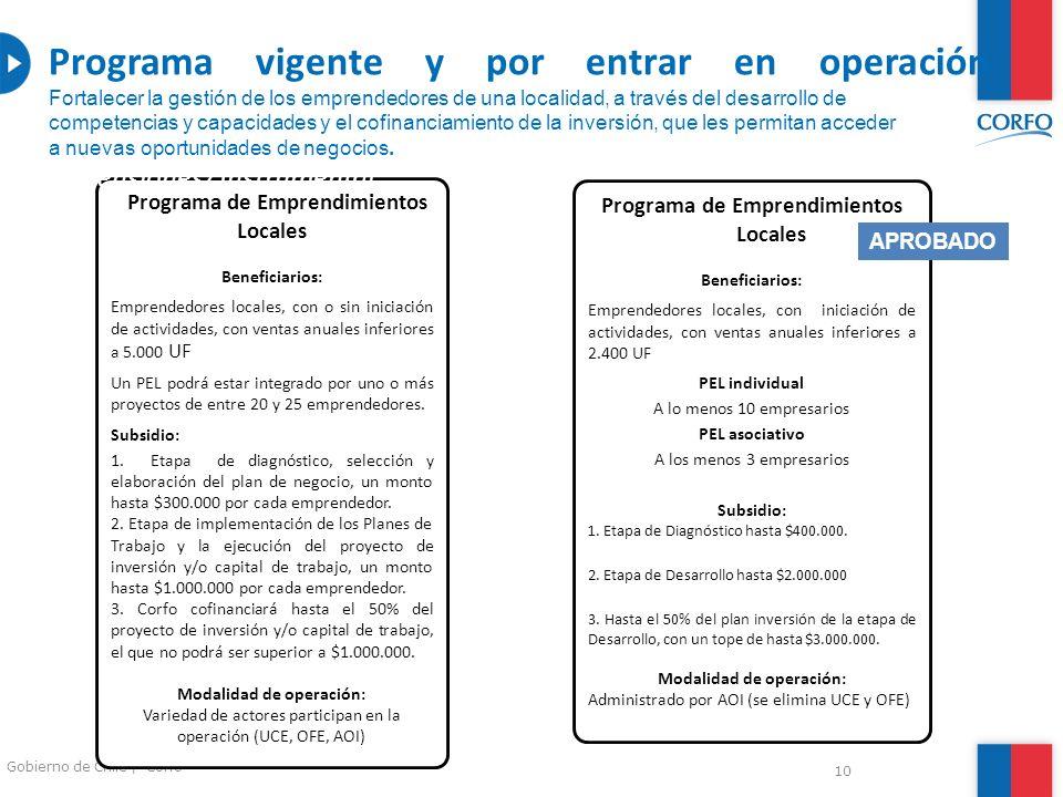 10 Gobierno de Chile | Corfo Programa de Emprendimientos Locales Beneficiarios: Emprendedores locales, con o sin iniciación de actividades, con ventas