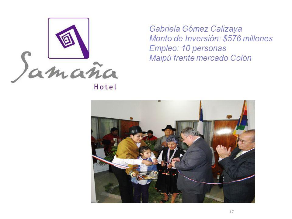 17 Gabriela Gómez Calizaya Monto de Inversión: $576 millones Empleo: 10 personas Maipú frente mercado Colón