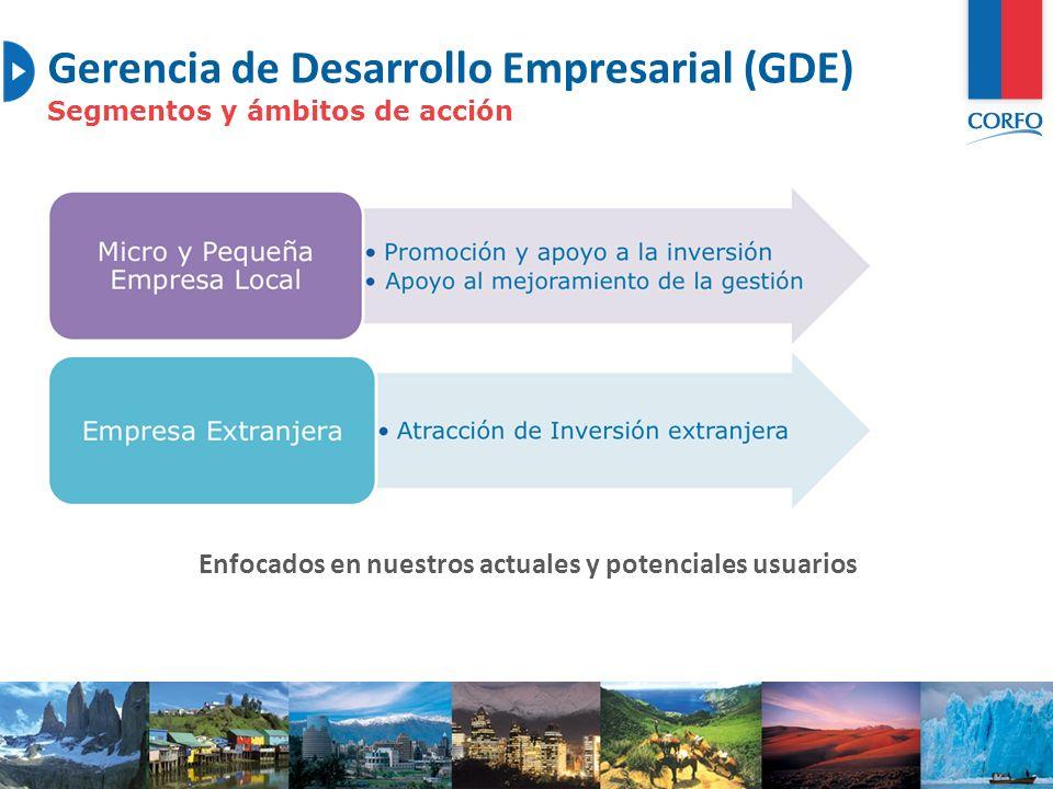 6 Gerencia de Desarrollo Empresarial (GDE) GDE Gestión Promoción y apoyo a la inversión Apoyo al mejoramiento de la gestión Programa de Fomento a la Calidad (Focal) Programa de Emprendimientos Locales (PEL) Proyectos Asociativos de Fomento (Profo) Programa Desarrollo de Proveedores (PDP) Fondos de Asistencia Técnica (FAT) Oferta de Valor