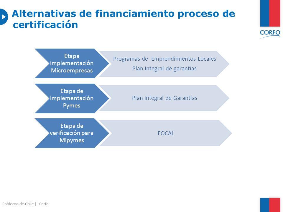 Alternativas de financiamiento proceso de certificación Etapa implementación Microempresas Programas de Emprendimientos Locales Plan Integral de garan