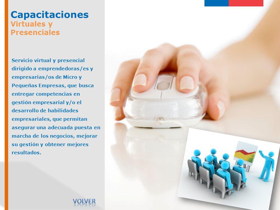 Capacitaciones Virtuales y Presenciales Servicio virtual y presencial dirigido a emprendedoras/es y empresarias/os de Micro y Pequeñas Empresas, que b