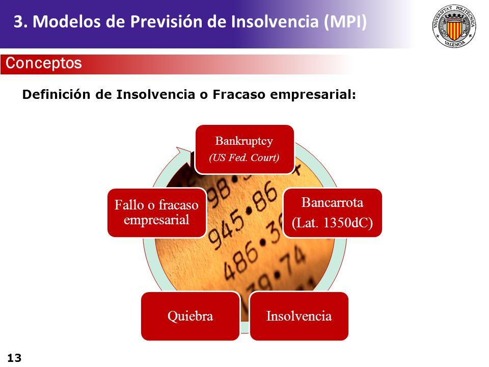 13 3. Modelos de Previsión de Insolvencia (MPI) Bankruptcy (US Fed. Court) Bancarrota (Lat. 1350dC) InsolvenciaQuiebra Fallo o fracaso empresarial Def