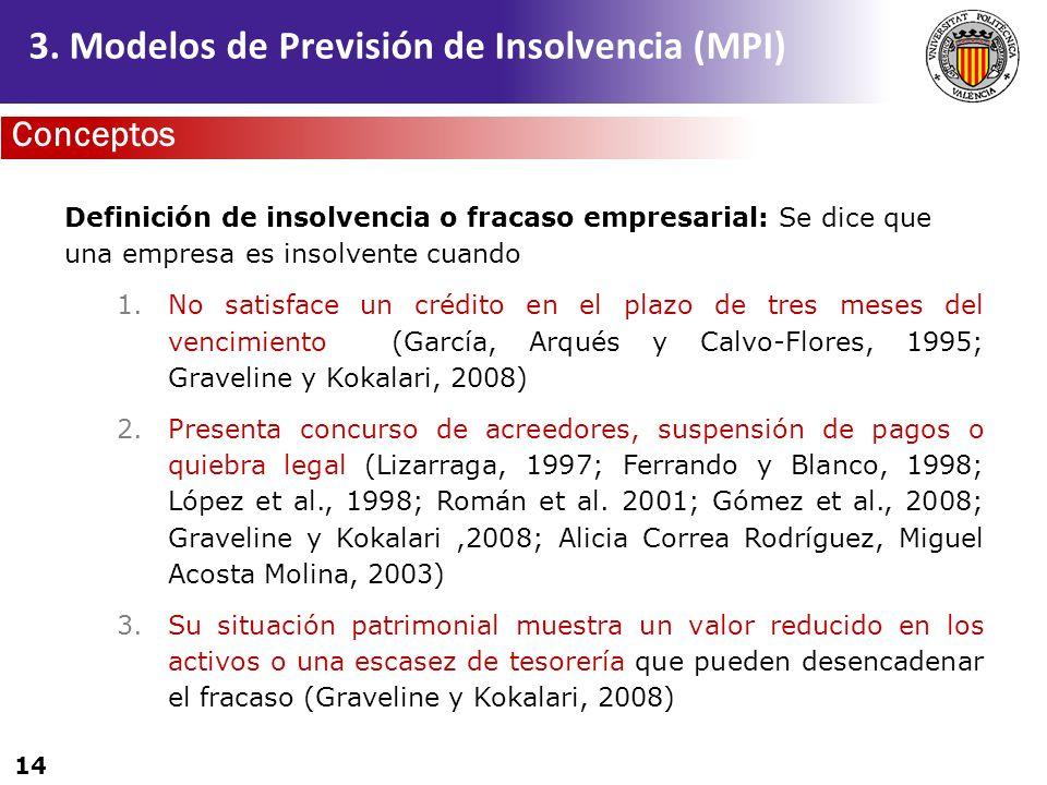 14 Definición de insolvencia o fracaso empresarial: Se dice que una empresa es insolvente cuando 1.No satisface un crédito en el plazo de tres meses d