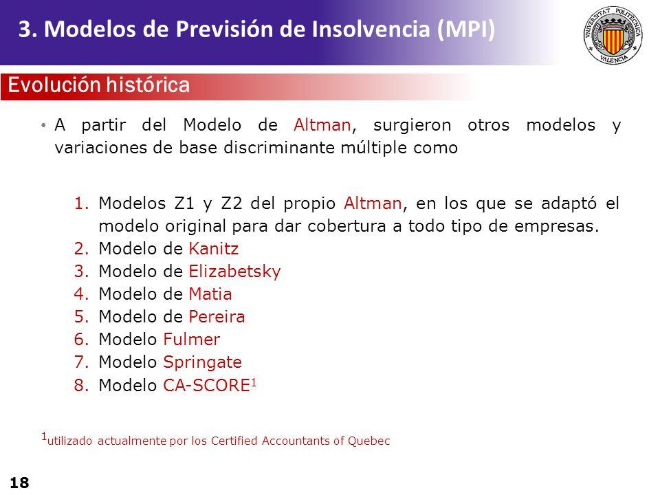 18 A partir del Modelo de Altman, surgieron otros modelos y variaciones de base discriminante múltiple como 1.Modelos Z1 y Z2 del propio Altman, en lo