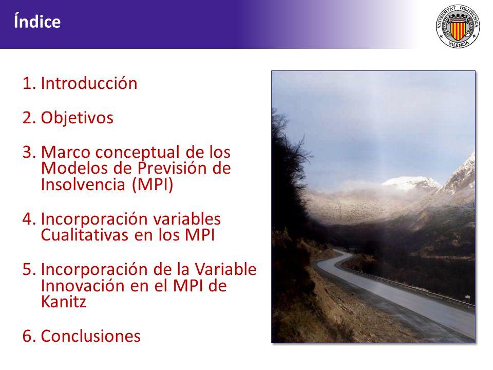 1.Introducción 2.Objetivos 3.Marco conceptual de los Modelos de Previsión de Insolvencia (MPI) 4.Incorporación variables Cualitativas en los MPI 5.Inc