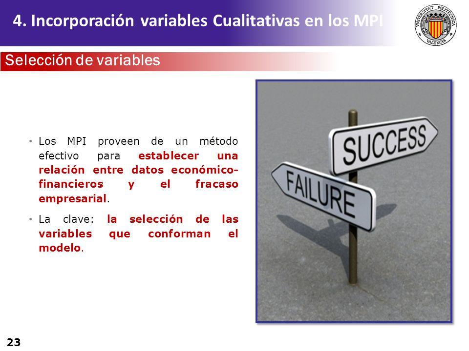 23 Los MPI proveen de un método efectivo para establecer una relación entre datos económico- financieros y el fracaso empresarial. La clave: la selecc