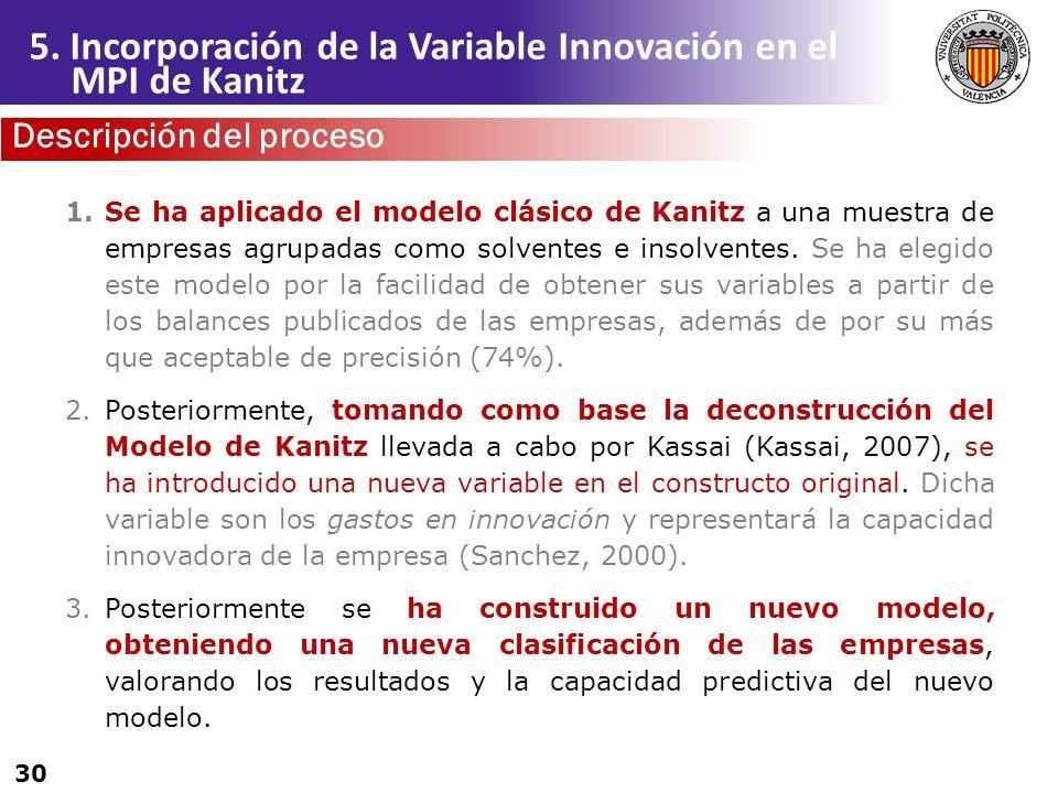 30 1.Se ha aplicado el modelo clásico de Kanitz a una muestra de empresas agrupadas como solventes e insolventes. Se ha elegido este modelo por la fac