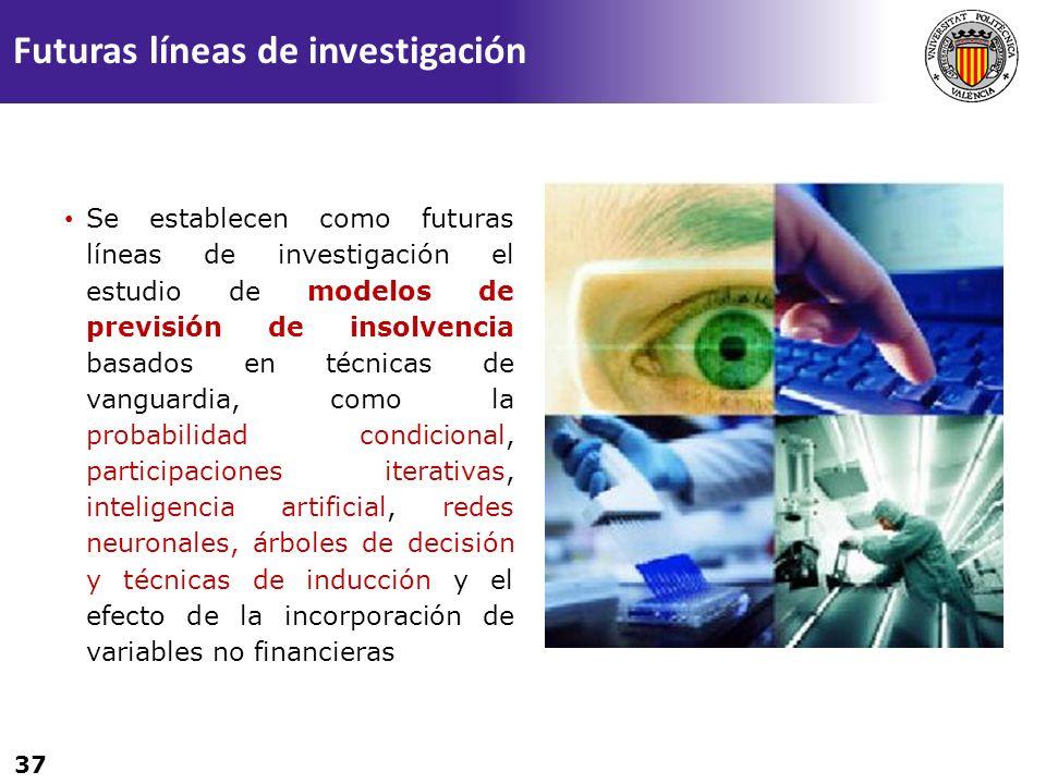 37 Se establecen como futuras líneas de investigación el estudio de modelos de previsión de insolvencia basados en técnicas de vanguardia, como la pro