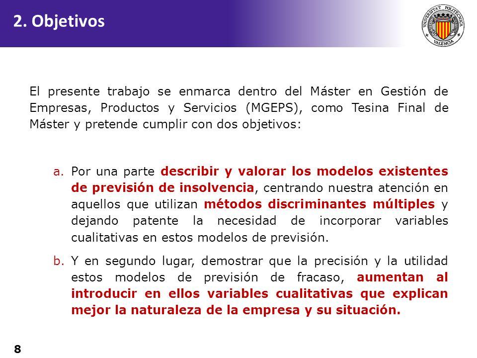8 El presente trabajo se enmarca dentro del Máster en Gestión de Empresas, Productos y Servicios (MGEPS), como Tesina Final de Máster y pretende cumpl