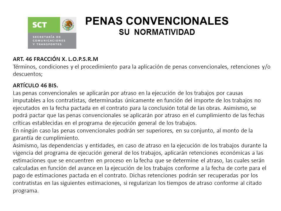 ARTÍCULO 46 BIS. Las penas convencionales se aplicarán por atraso en la ejecución de los trabajos por causas imputables a los contratistas, determinad