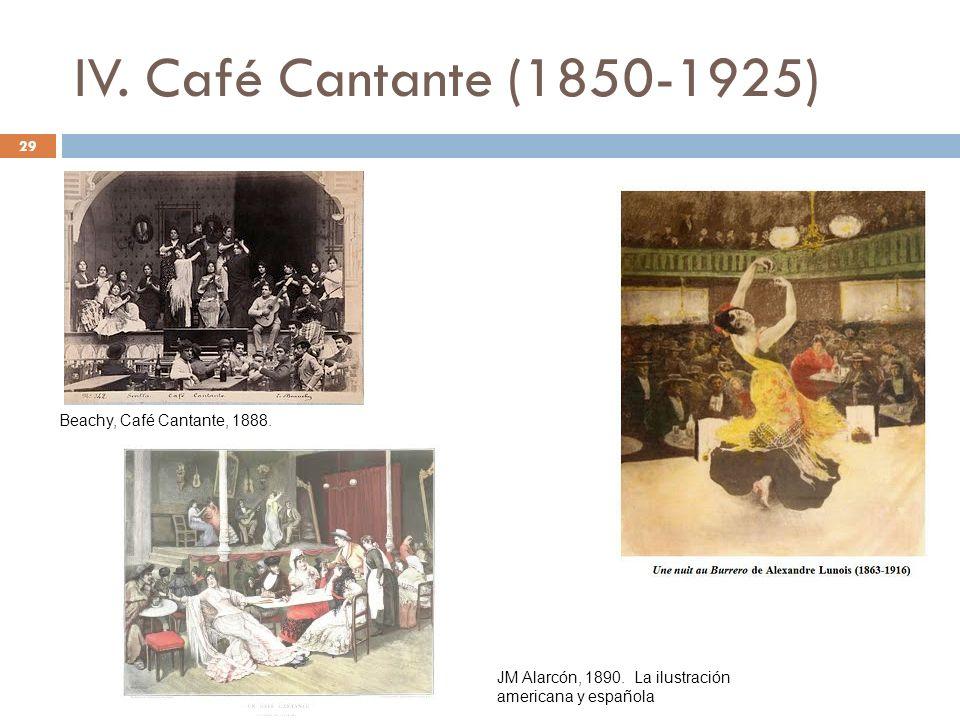 IV. Café Cantante (1850-1925) 29 Beachy, Café Cantante, 1888. JM Alarcón, 1890. La ilustración americana y española