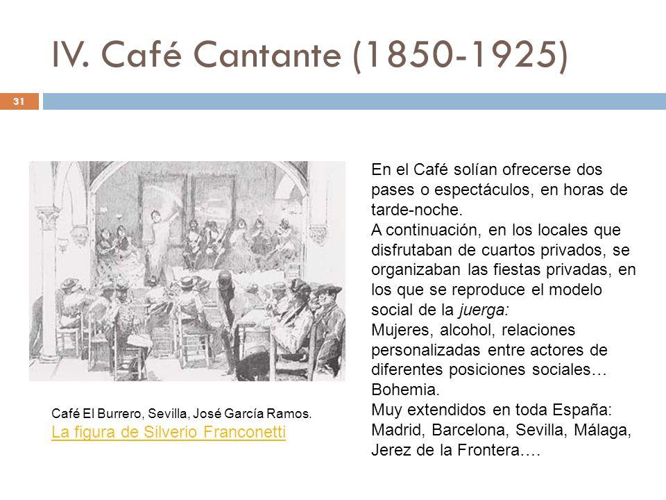 IV. Café Cantante (1850-1925) 31 En el Café solían ofrecerse dos pases o espectáculos, en horas de tarde-noche. A continuación, en los locales que dis